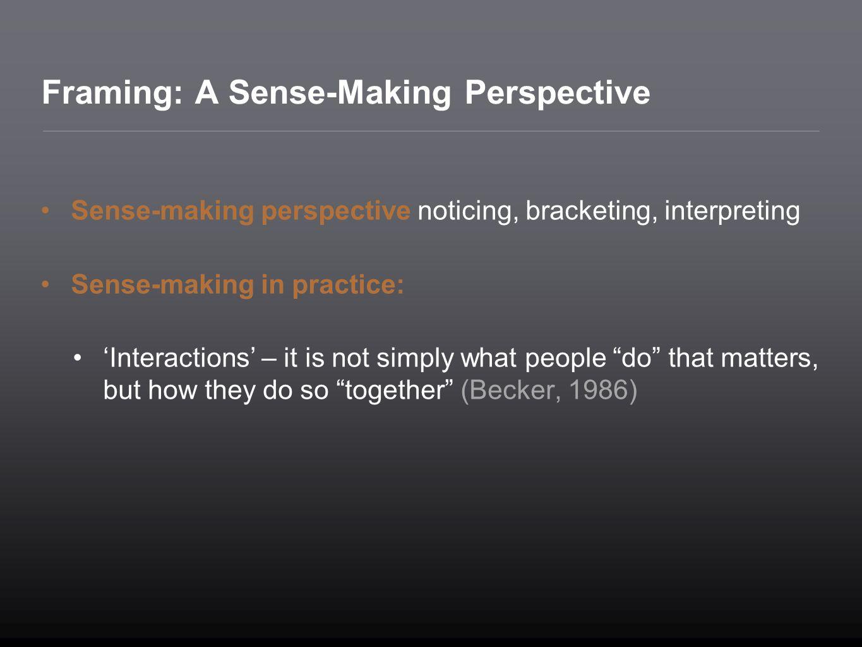 Framing: A Sense-Making Perspective