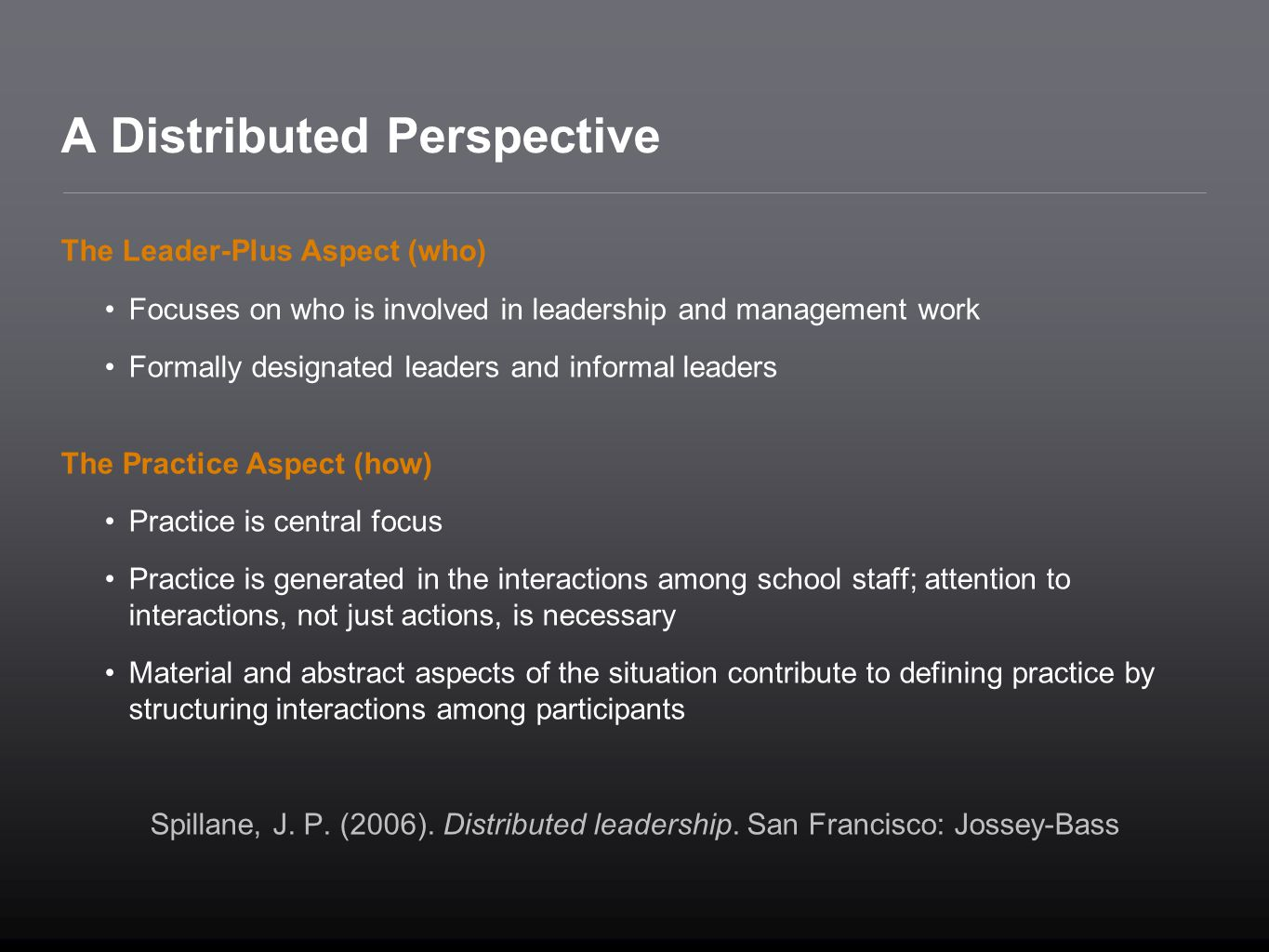 A Distributed Perspective