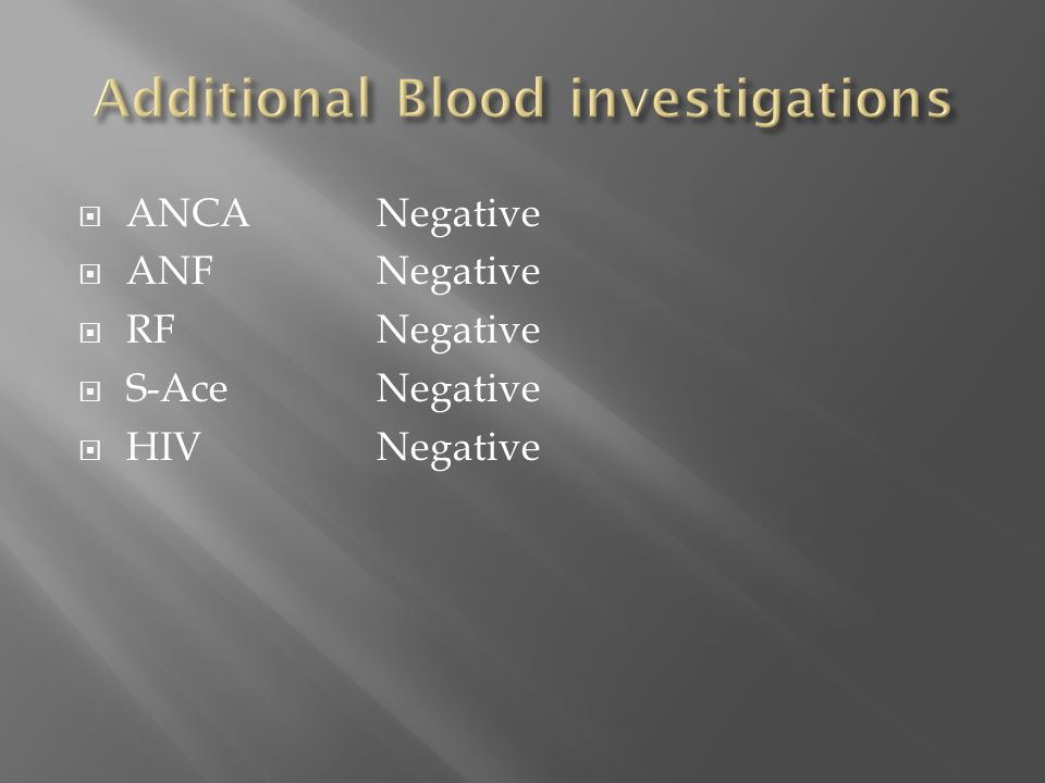 Additional Blood investigations