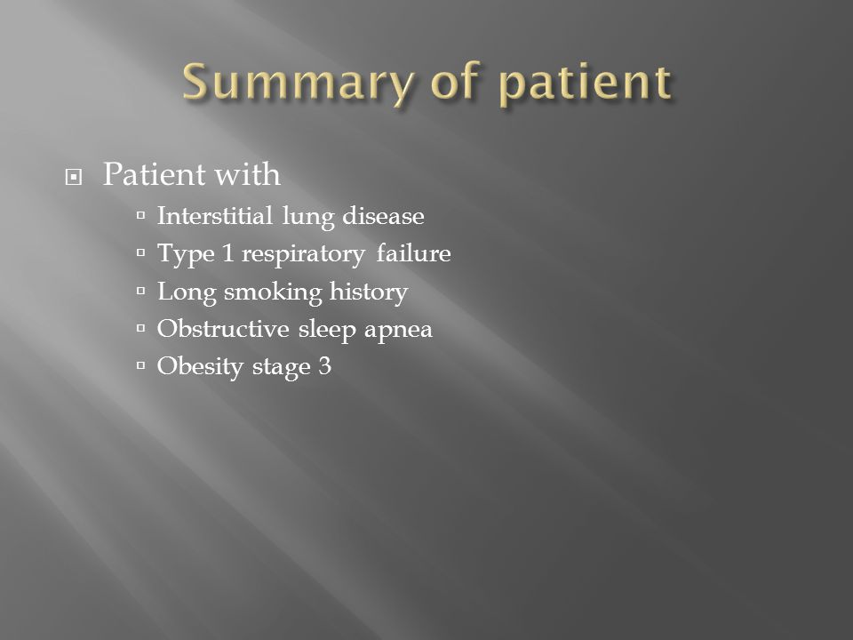 Summary of patient Patient with Interstitial lung disease