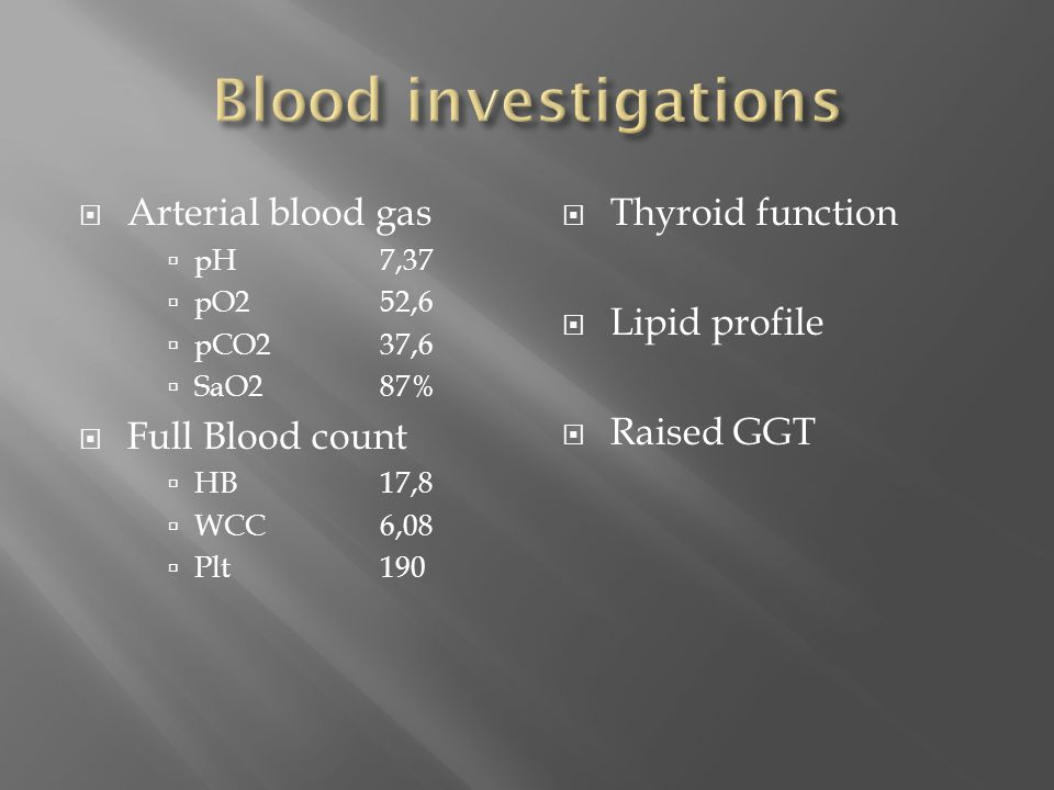 Blood investigations Arterial blood gas Full Blood count