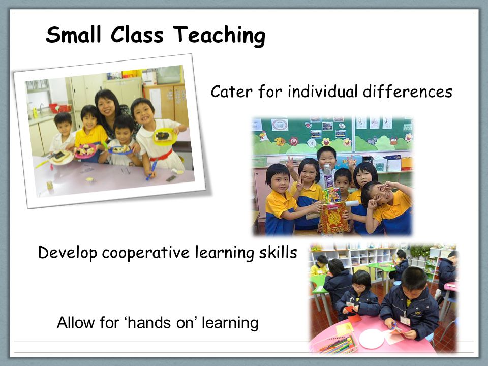 Small Class Teaching Cater for individual differences