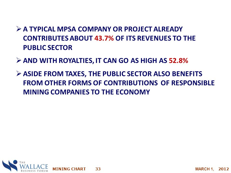 A TYPICAL MPSA COMPANY OR PROJECT ALREADY CONTRIBUTES ABOUT 43