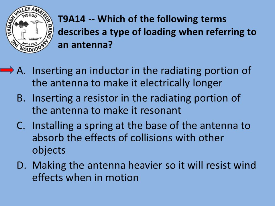 T9A14 -- Which of the following terms describes a type of loading when referring to an antenna