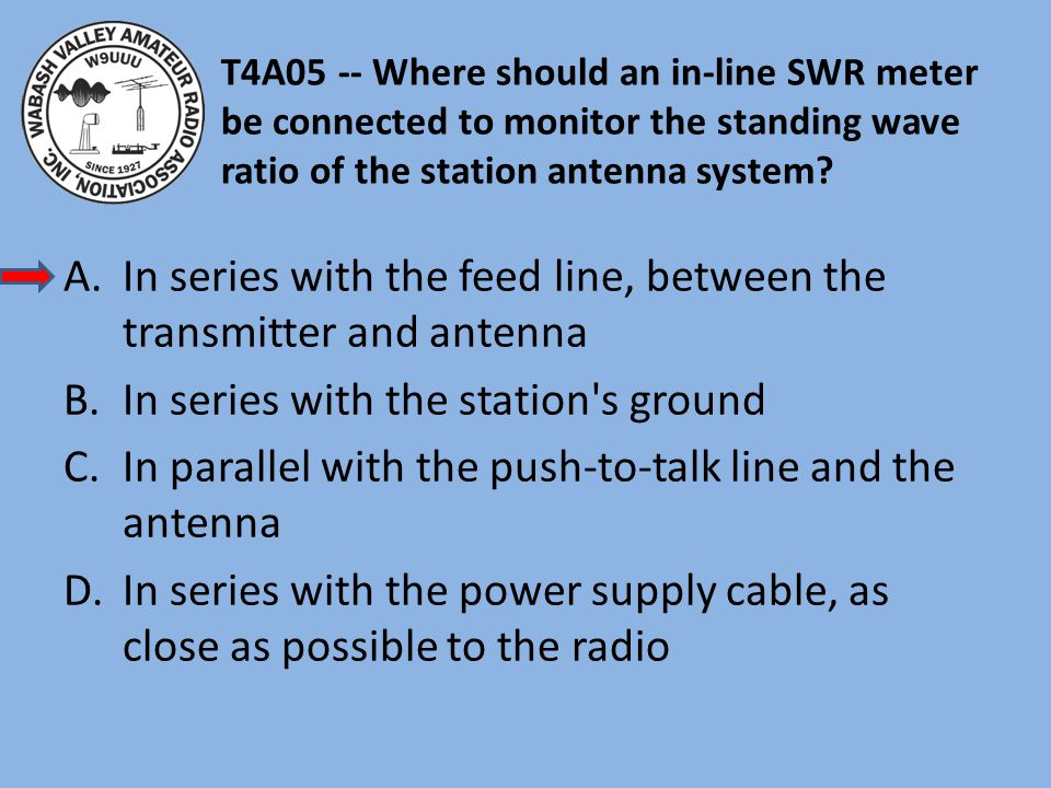In series with the feed line, between the transmitter and antenna