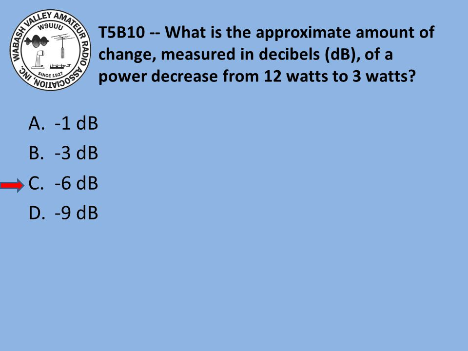 T5B10 -- What is the approximate amount of change, measured in decibels (dB), of a power decrease from 12 watts to 3 watts