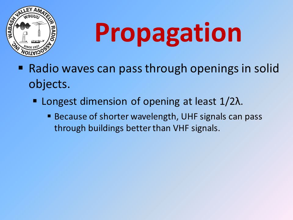 Propagation Radio waves can pass through openings in solid objects.