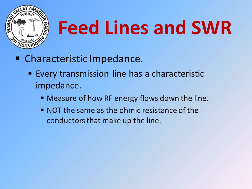 Feed Lines and SWR Characteristic Impedance.