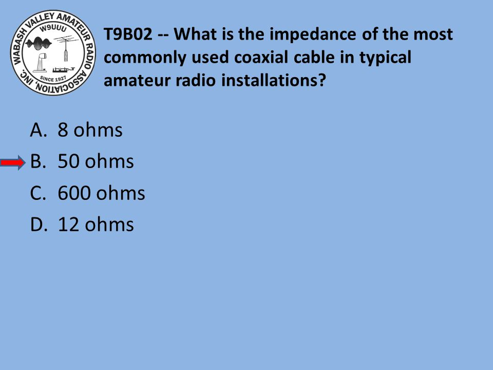 T9B02 -- What is the impedance of the most commonly used coaxial cable in typical amateur radio installations