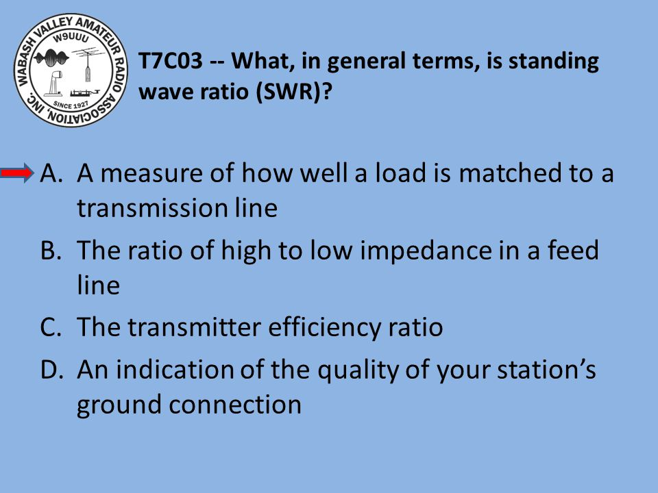 T7C03 -- What, in general terms, is standing wave ratio (SWR)