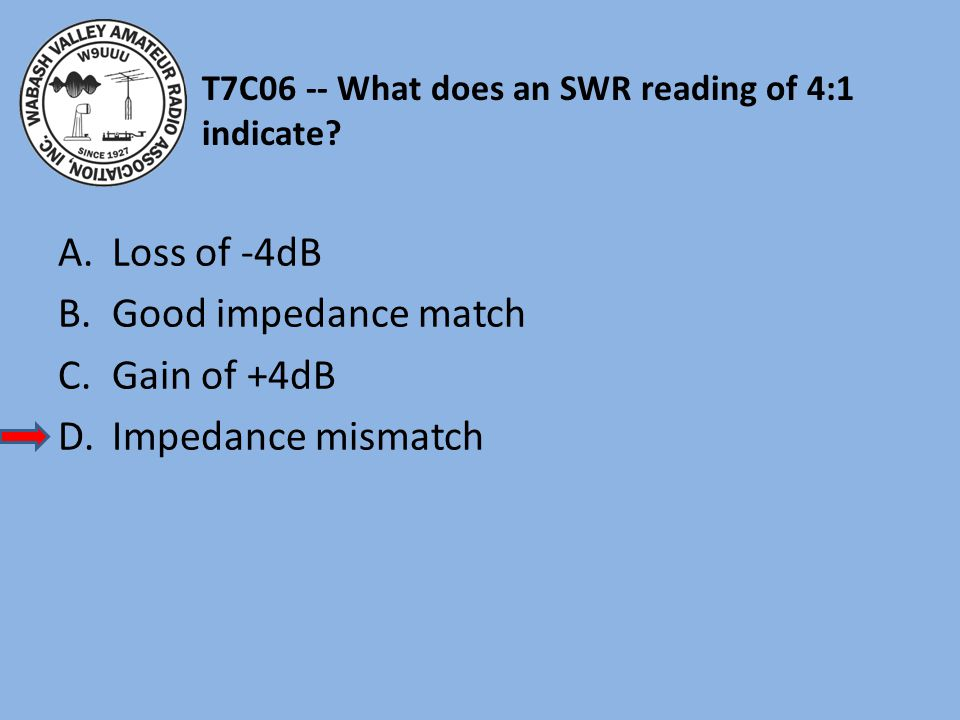 T7C06 -- What does an SWR reading of 4:1 indicate
