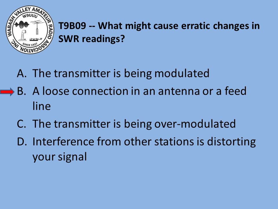 T9B09 -- What might cause erratic changes in SWR readings