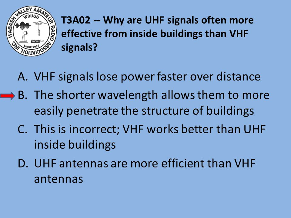 VHF signals lose power faster over distance