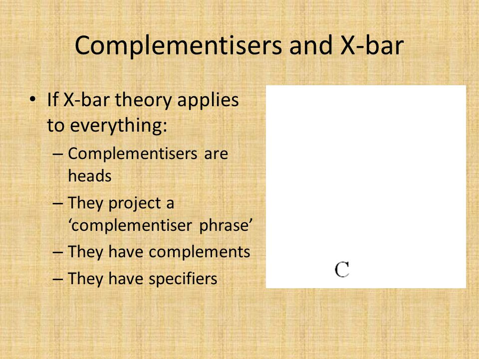 Complementisers and X-bar