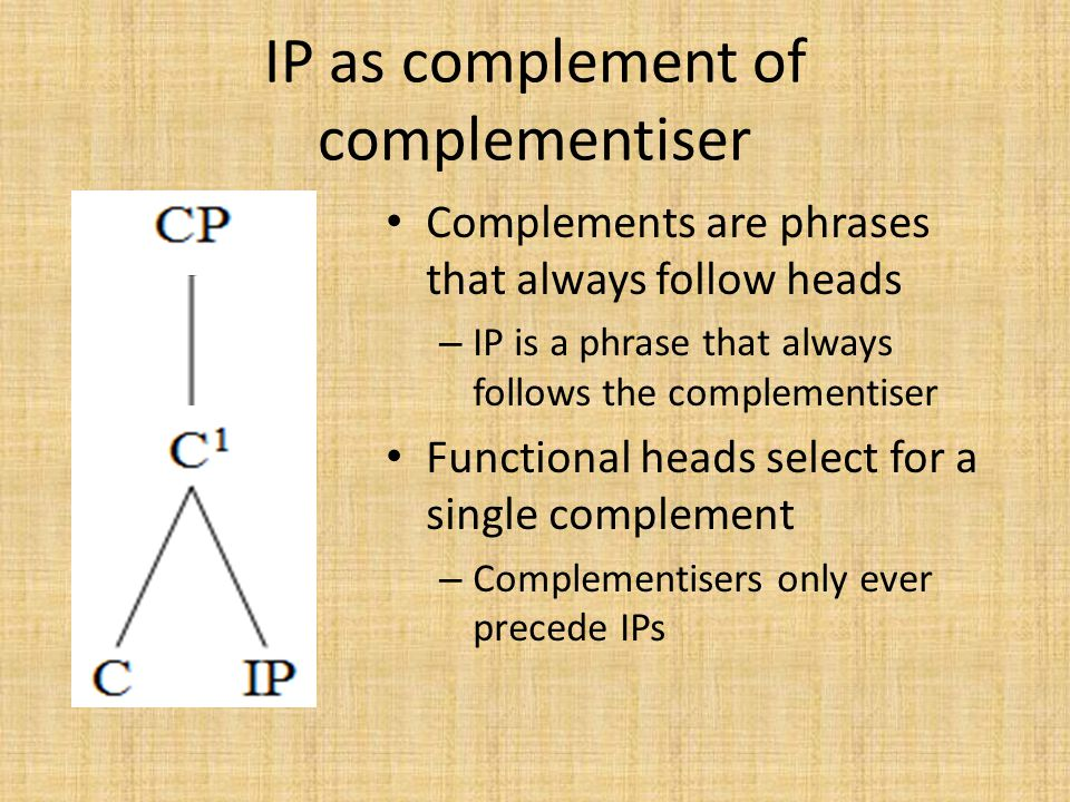 IP as complement of complementiser
