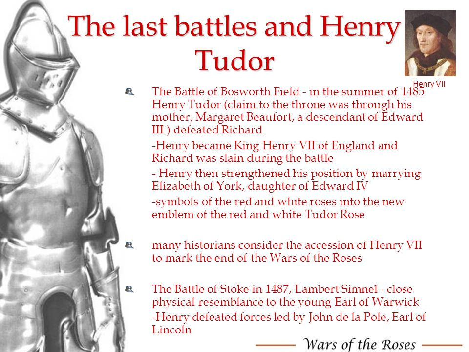 The last battles and Henry Tudor