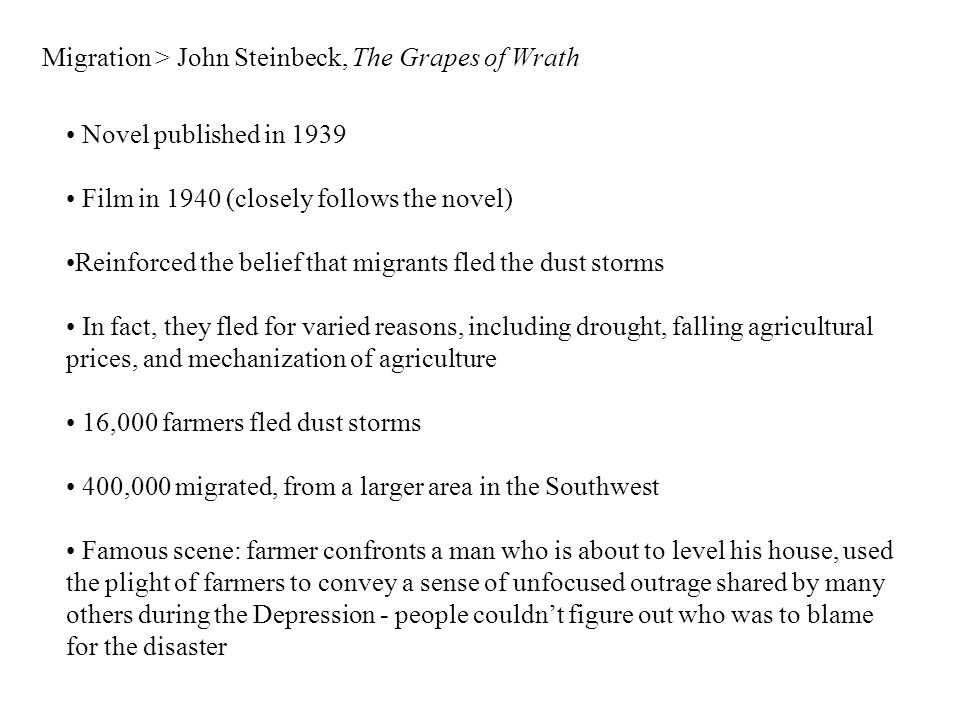 Migration > John Steinbeck, The Grapes of Wrath