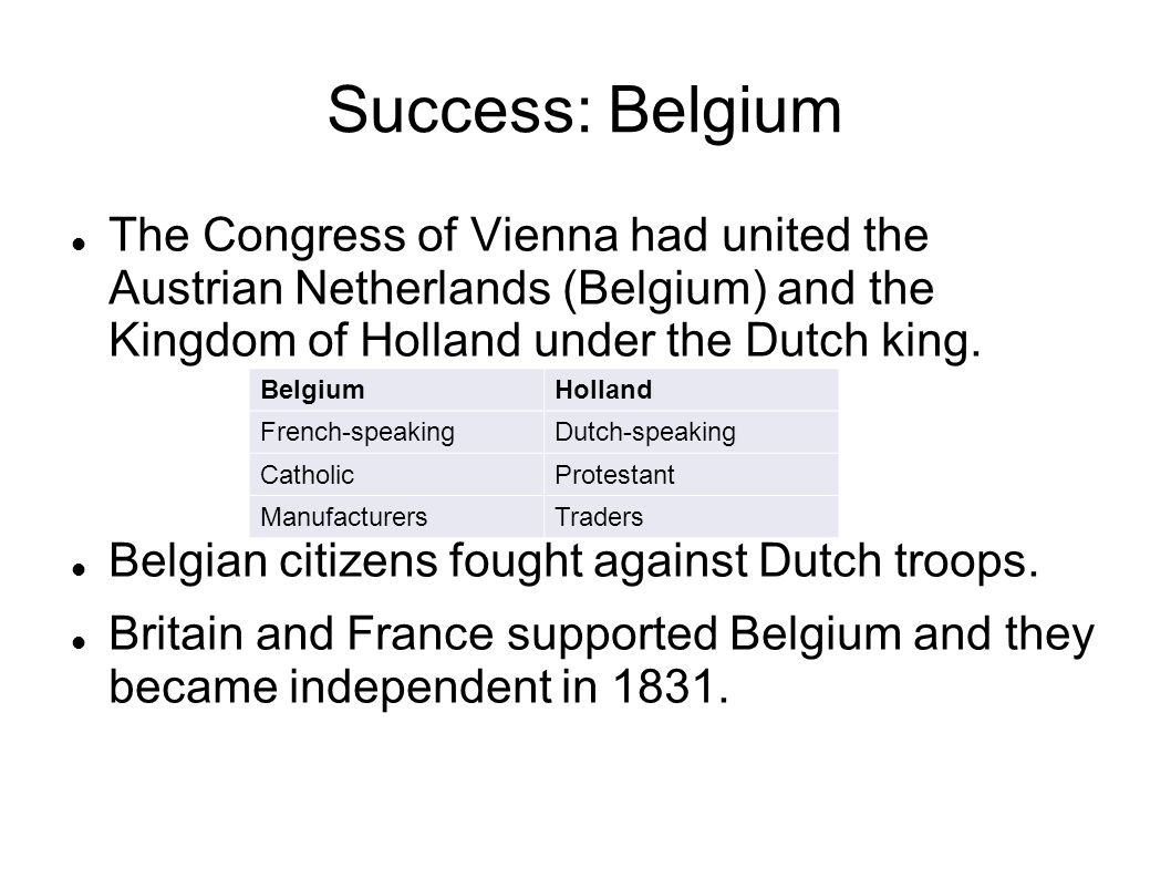 Success: Belgium The Congress of Vienna had united the Austrian Netherlands (Belgium) and the Kingdom of Holland under the Dutch king.