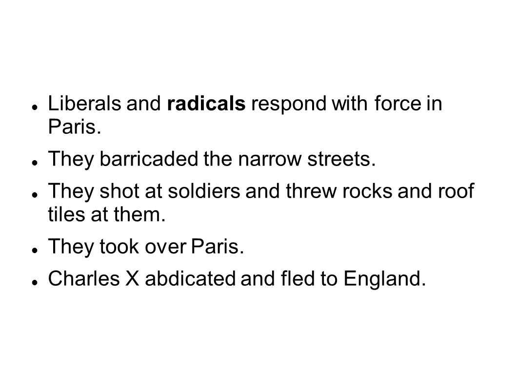 Liberals and radicals respond with force in Paris.