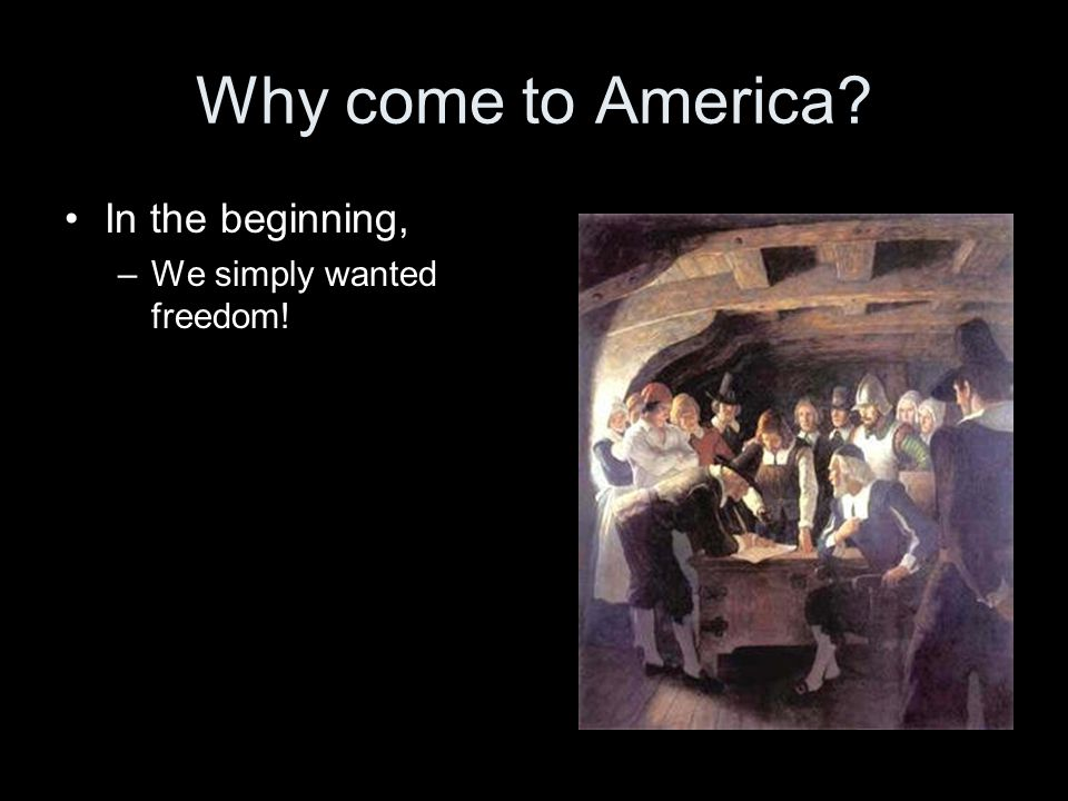 Why come to America In the beginning, We simply wanted freedom!