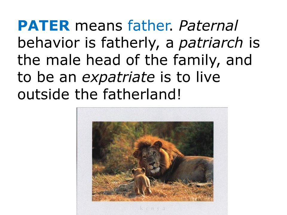 PATER means father.
