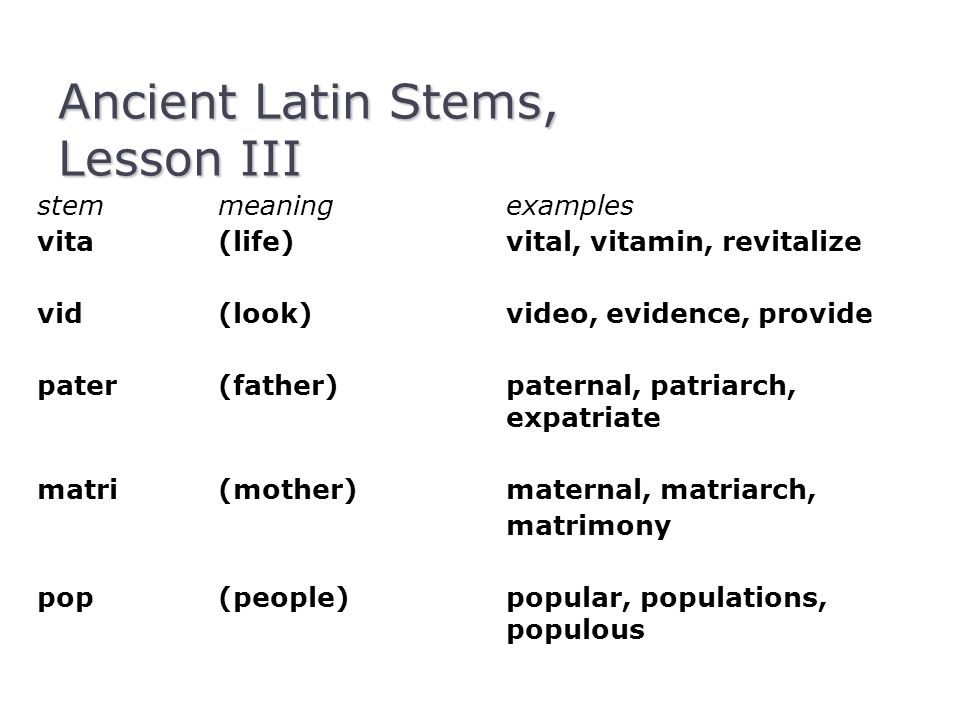 Ancient Latin Stems, Lesson III