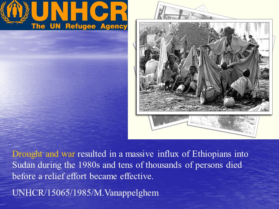 Drought and war resulted in a massive influx of Ethiopians into Sudan during the 1980s and tens of thousands of persons died before a relief effort became effective.