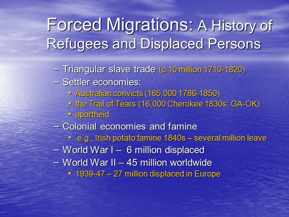 Forced Migrations: A History of Refugees and Displaced Persons