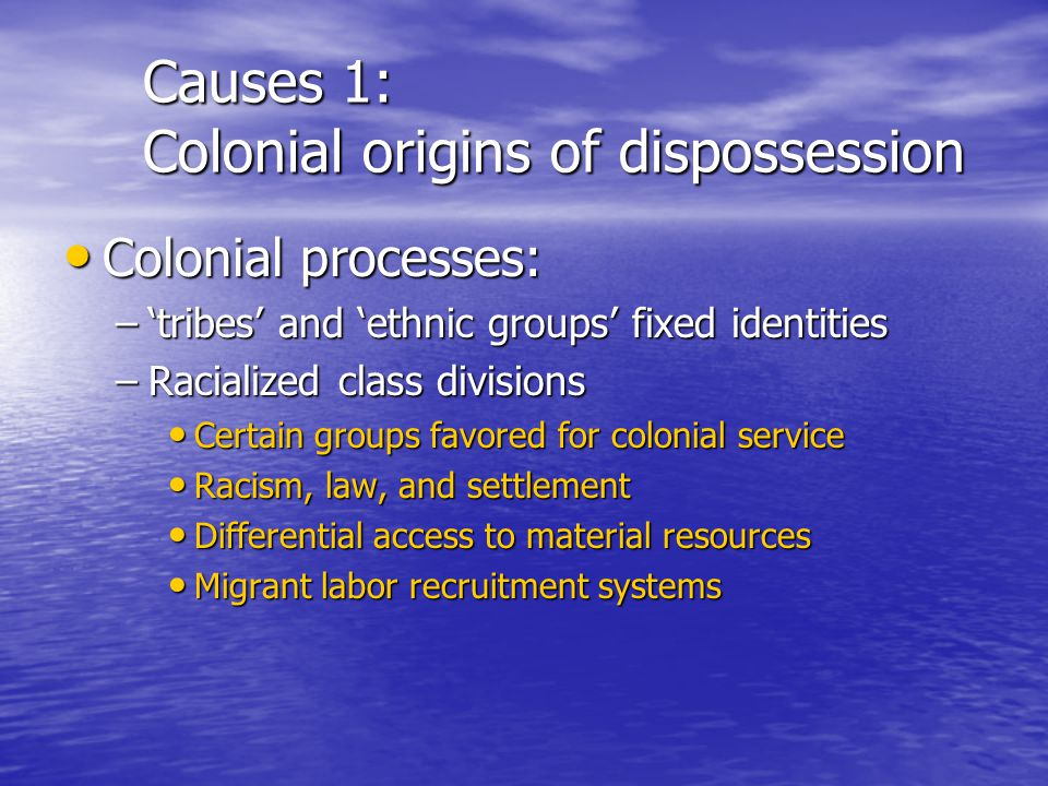 Causes 1: Colonial origins of dispossession