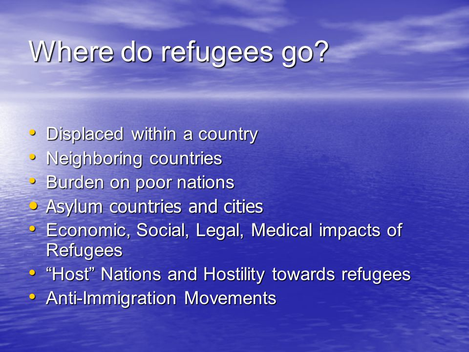 Where do refugees go Displaced within a country Neighboring countries