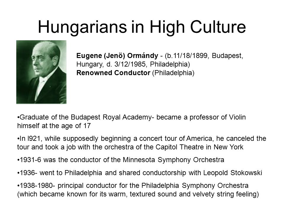 Hungarians in High Culture