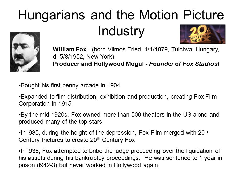 Hungarians and the Motion Picture Industry