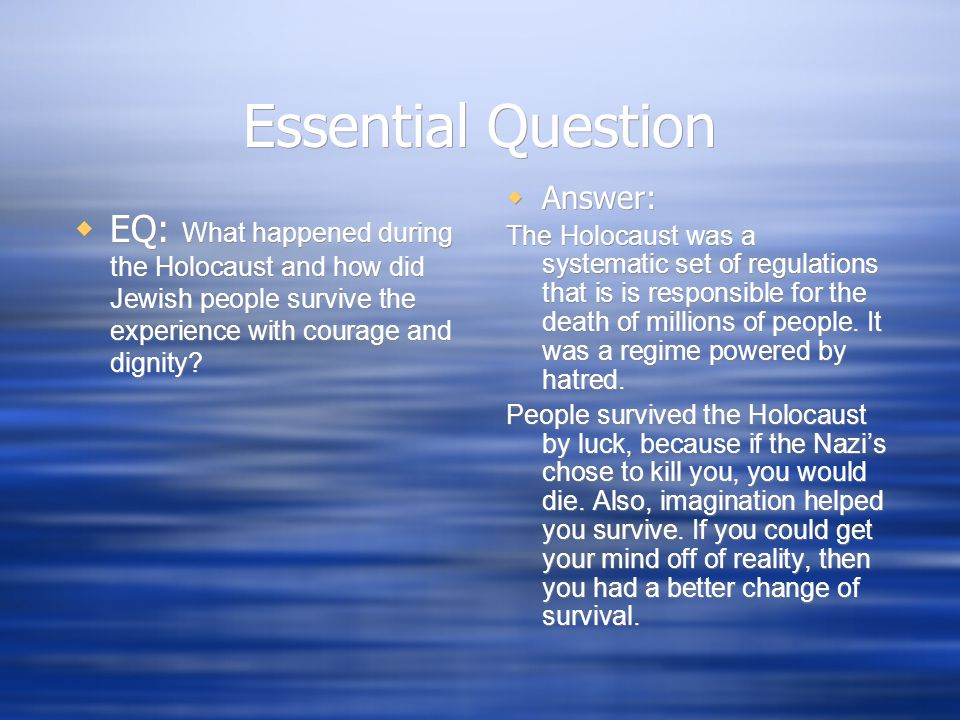Essential Question Answer: