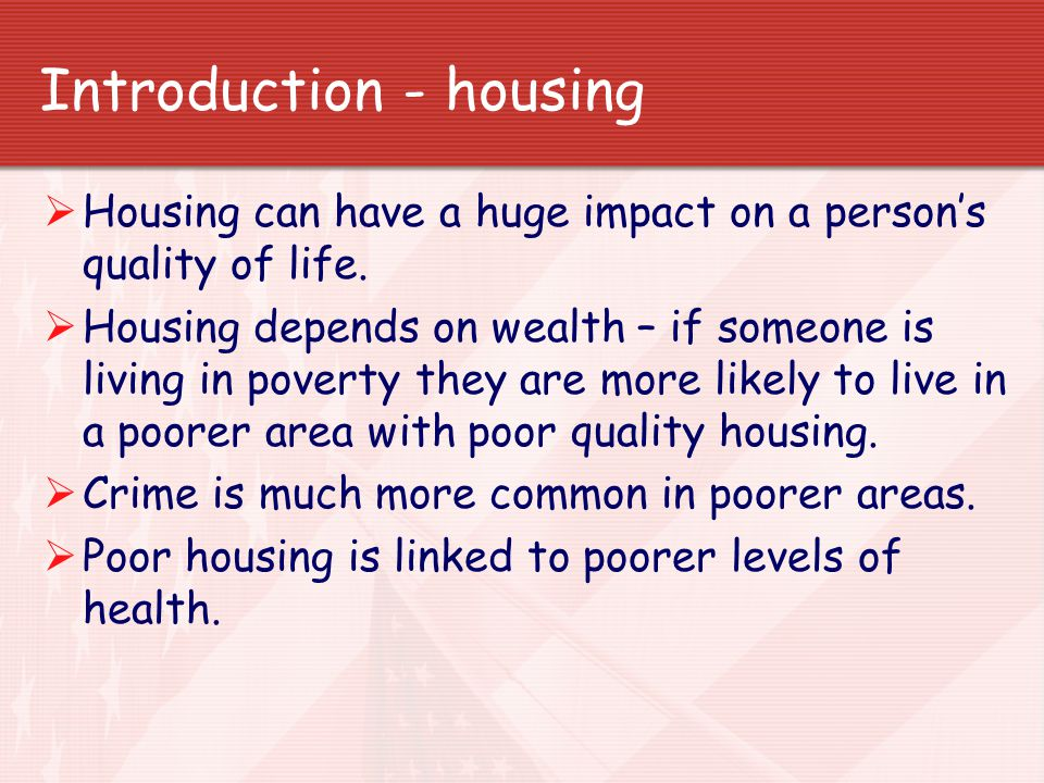 Introduction - housing