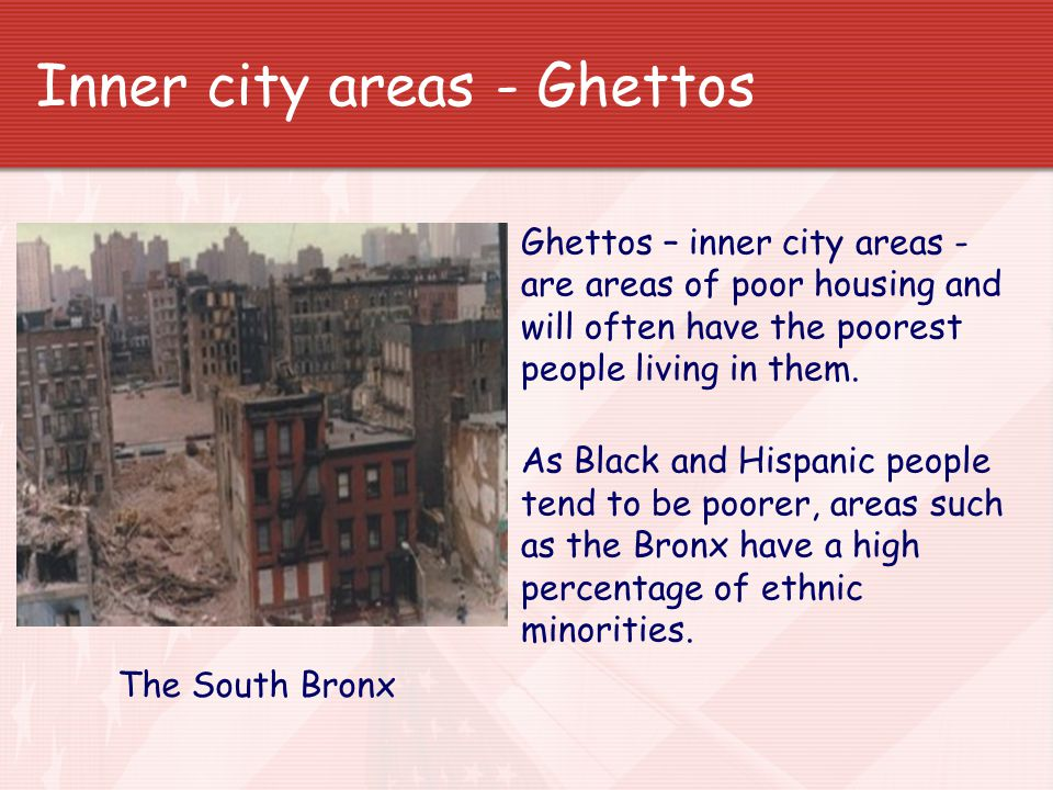 Inner city areas - Ghettos