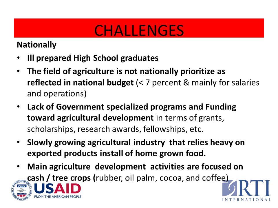 CHALLENGES Nationally Ill prepared High School graduates