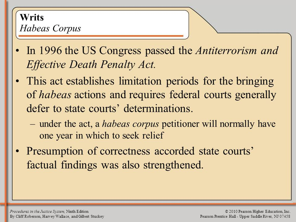 Writs Habeas Corpus In 1996 the US Congress passed the Antiterrorism and Effective Death Penalty Act.