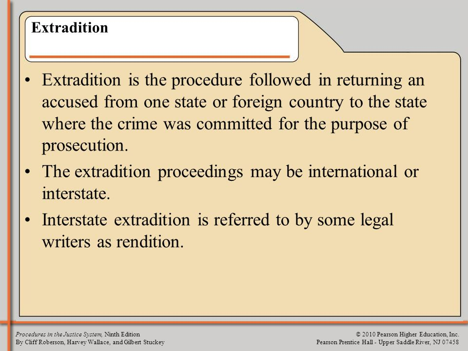 The extradition proceedings may be international or interstate.