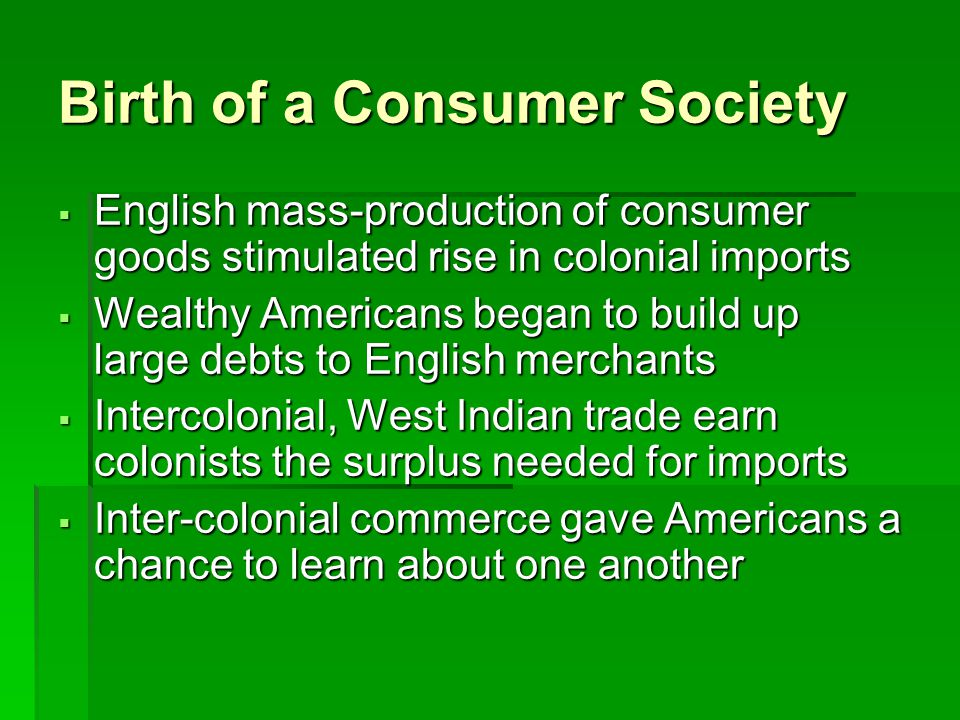Birth of a Consumer Society