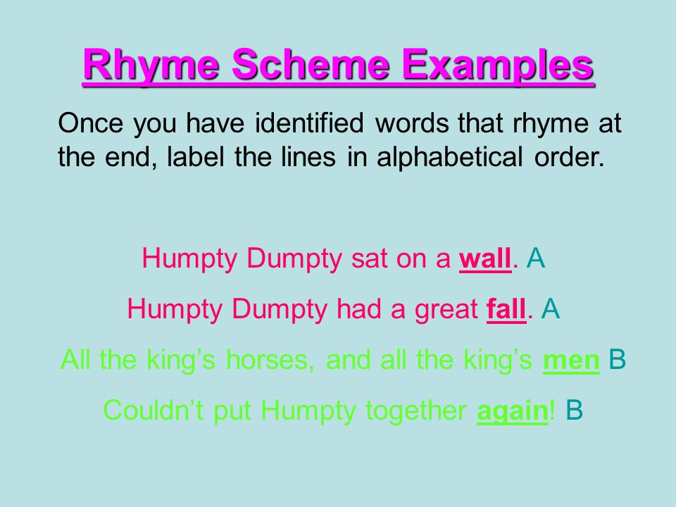 Rhyme Scheme Examples Once you have identified words that rhyme at the end, label the lines in alphabetical order.