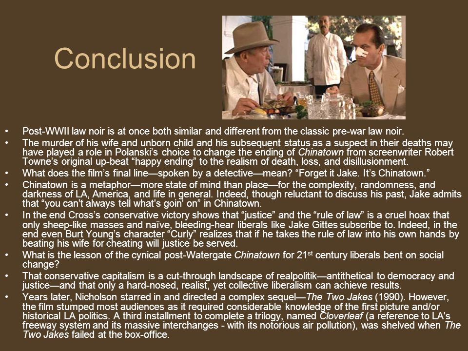 Conclusion Post-WWII law noir is at once both similar and different from the classic pre-war law noir.