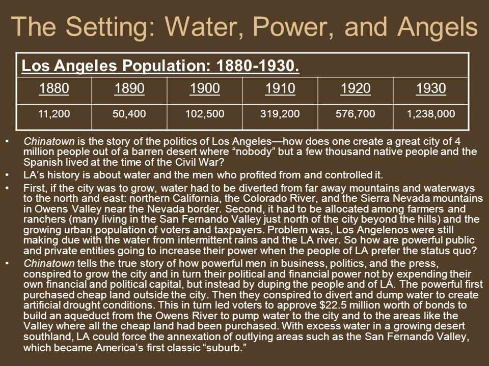 The Setting: Water, Power, and Angels
