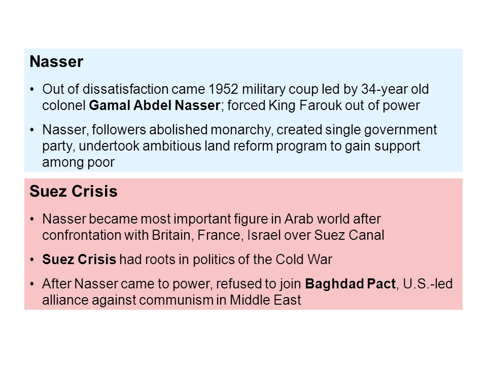 Nasser Out of dissatisfaction came 1952 military coup led by 34-year old colonel Gamal Abdel Nasser; forced King Farouk out of power.