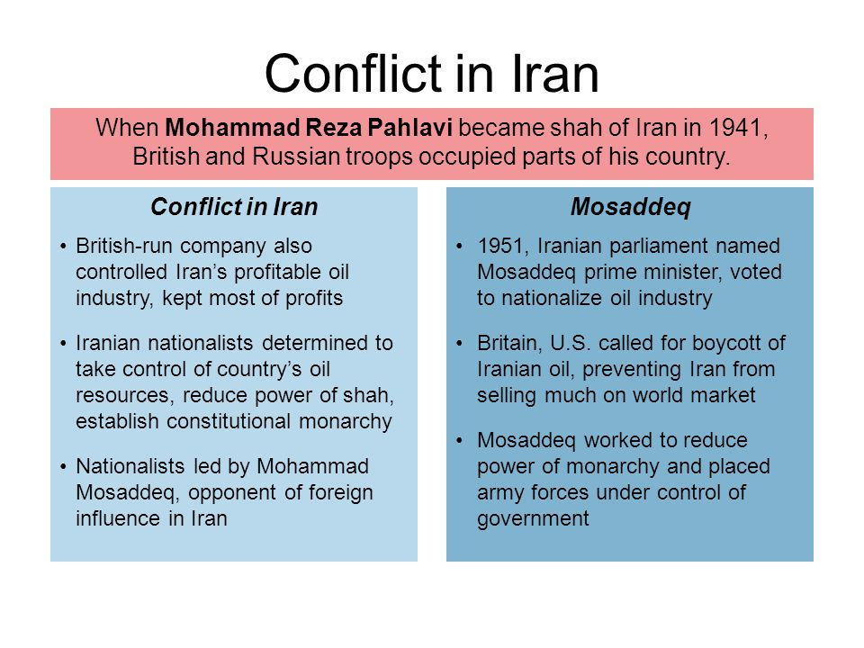 Conflict in Iran When Mohammad Reza Pahlavi became shah of Iran in 1941, British and Russian troops occupied parts of his country.