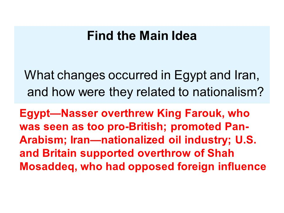 Find the Main Idea What changes occurred in Egypt and Iran, and how were they related to nationalism