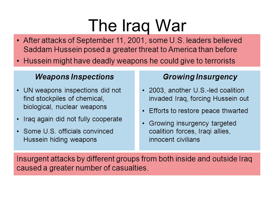 The Iraq War After attacks of September 11, 2001, some U.S. leaders believed Saddam Hussein posed a greater threat to America than before.