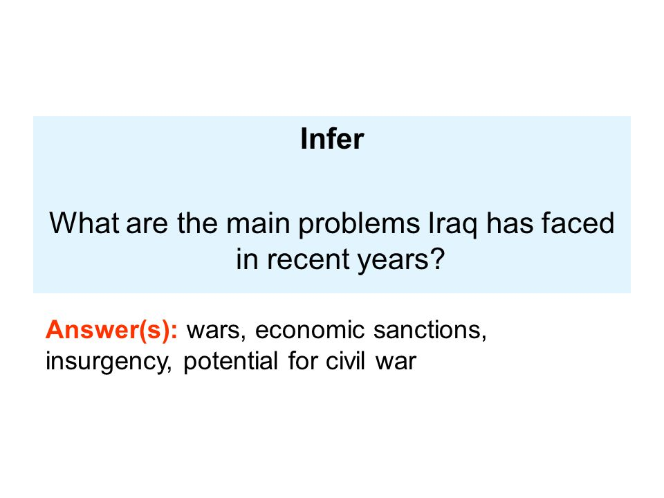 What are the main problems Iraq has faced in recent years