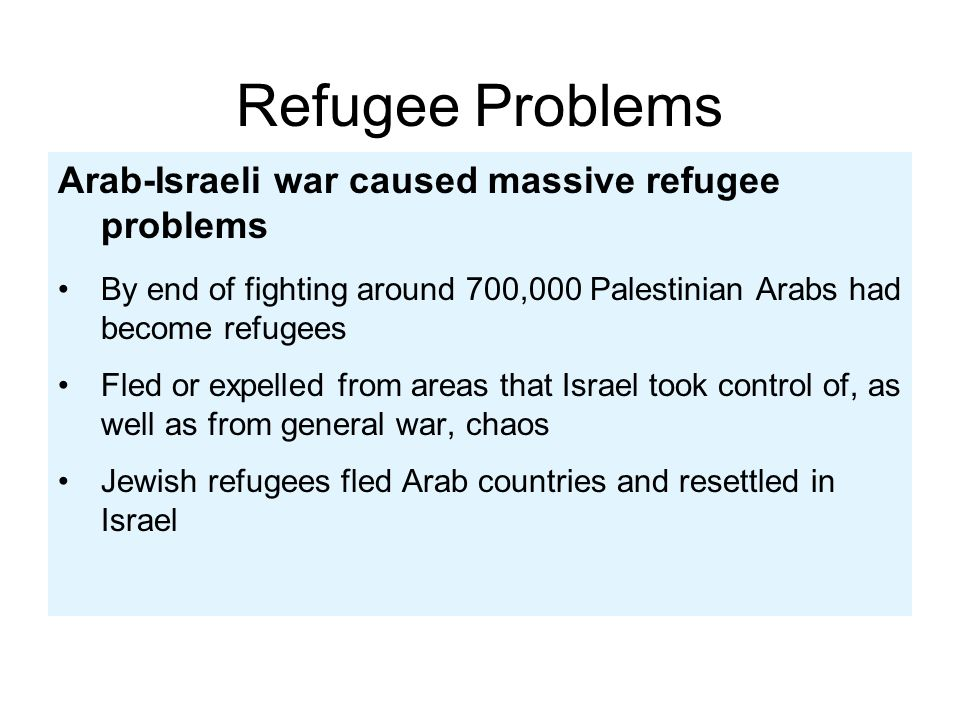 Refugee Problems Arab-Israeli war caused massive refugee problems
