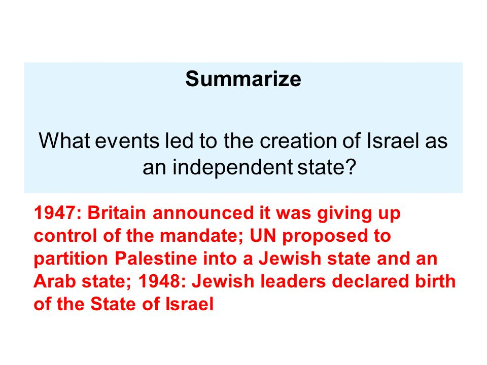 What events led to the creation of Israel as an independent state