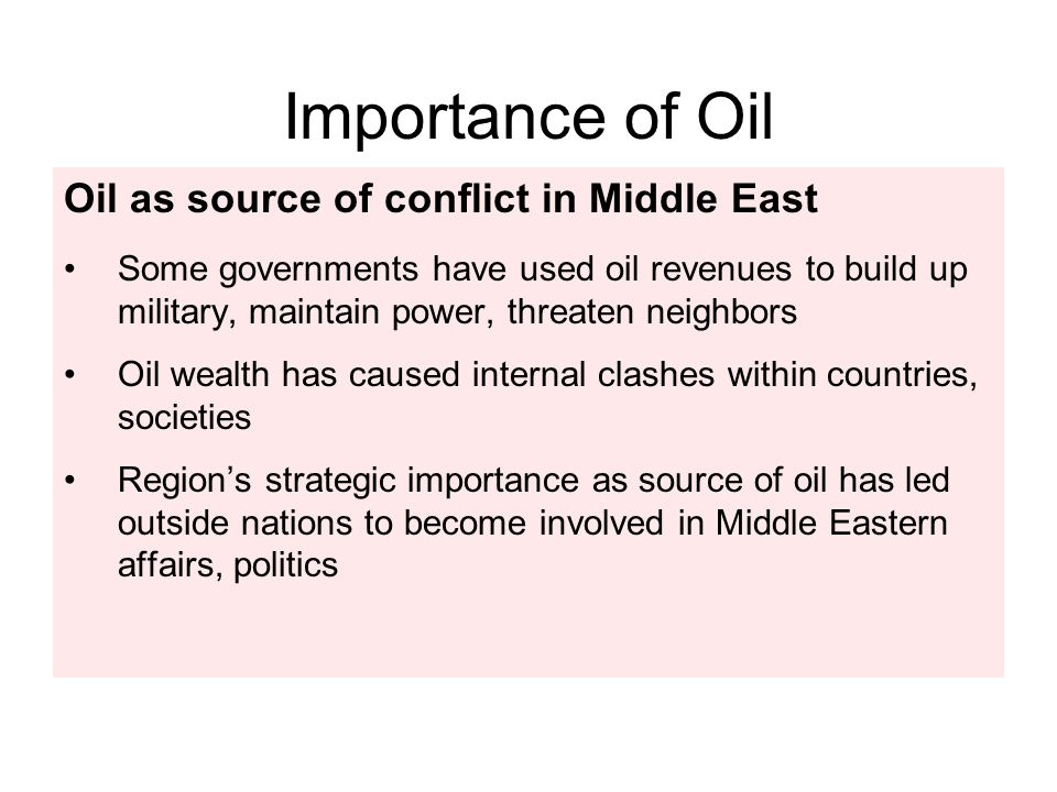 Importance of Oil Oil as source of conflict in Middle East